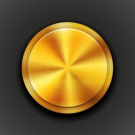 viso: Vector de oro bot�n de metal con textura Vectores