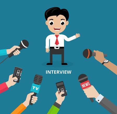 media: Media conducting a press interview