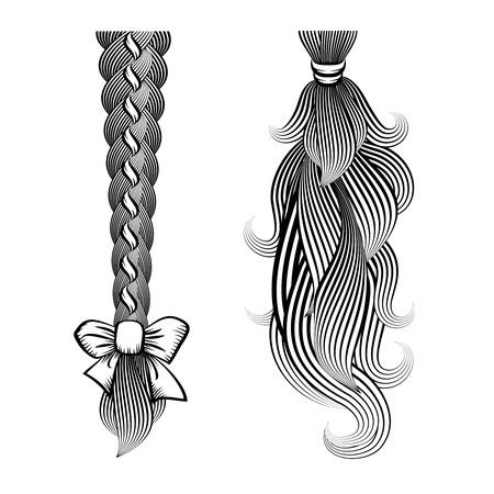 loose hair: Capelli sciolti in una treccia e coda di cavallo Vettoriali