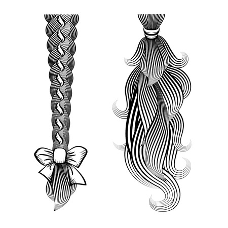 Loose hair in a plait and ponytail Vector