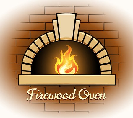 Firewood oven logo or badge Illustration