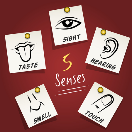 Set of senses icons on sticky notes