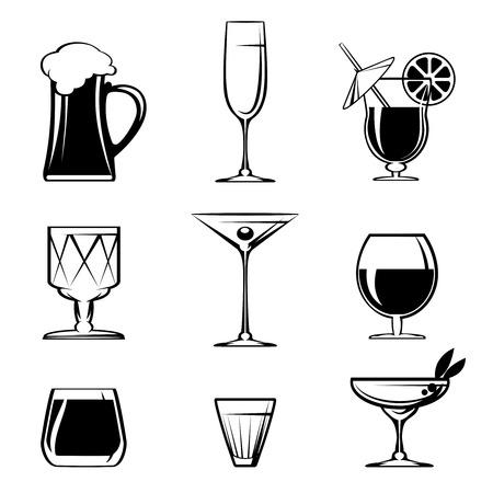 material de vidrio: Silueta Beverage iconos de vidrio en blanco