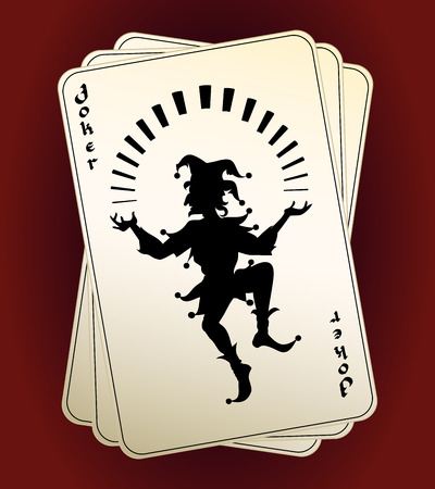 games of chance: Joker silhouette on playing cards