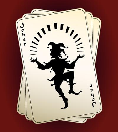 Silueta Joker en jugar a las cartas Ilustración de vector