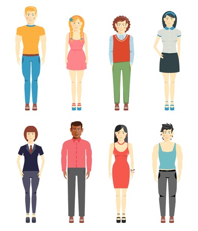 young man jeans: Young men and girls casual style Illustration