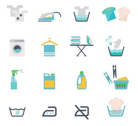lavadora con ropa: Instrucciones de lavado Vectores