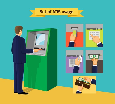 cash on hand: ATM machine Illustration