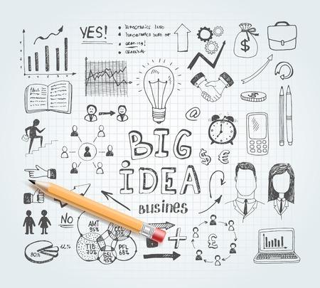 lijntekening: Business idee doodles