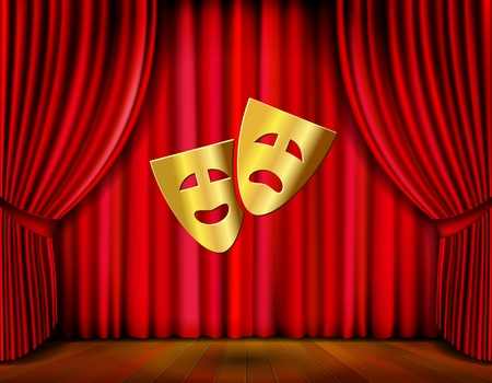 comedy tragedy: golden masks and red curtain Illustration