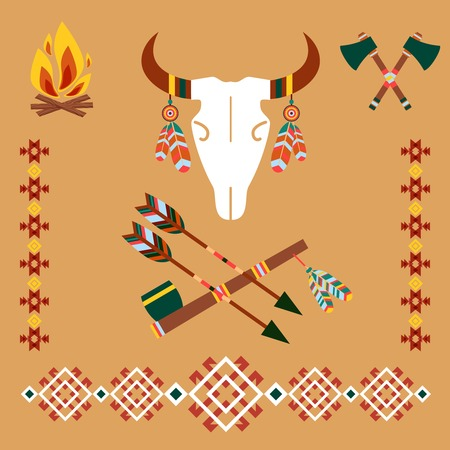texas longhorn cattle: Ethnic ornament with bull skull and arrows