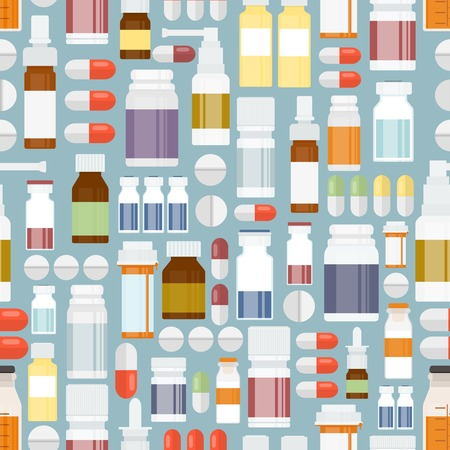 prescription bottles: Pills and Drugs in Seamless Pattern Illustration