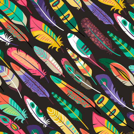 Colorful seamless pattern with feathers Vector