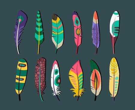 attractive: Attractive Feathers Icon Set Designs Illustration