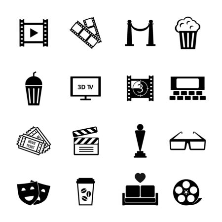 theater auditorium: Black and White Movie Icon Designs