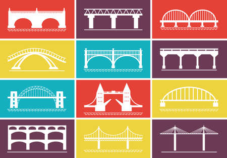 suspension bridge: Modern Bridge Icons on Colorful Background Designs Illustration