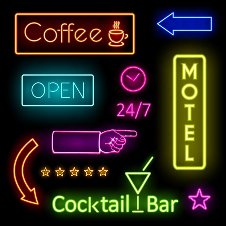 hands  hour: Glowing Neon Lights for Cafe and Motel Signs