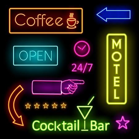Glowing Neon Lights voor Cafe en Motel Borden Vector Illustratie