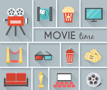 movie projector: Conceptual Movie Time Graphic Design Illustration