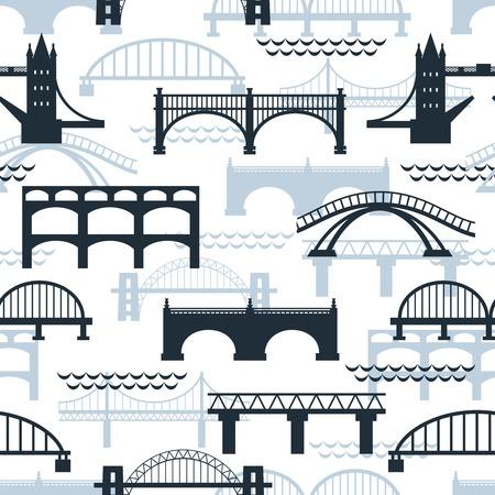 Naadloze patroon van de brug silhouetten Stock Illustratie