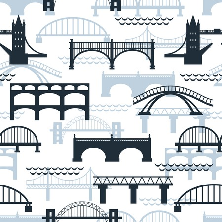 suspension bridge: Seamless pattern of bridge silhouettes