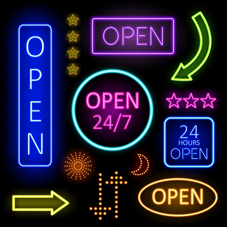 hospitality: Glowing Neon Lights for Open Signs Illustration