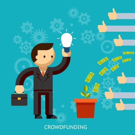 funded: Businessman with a great idea being crowd funded