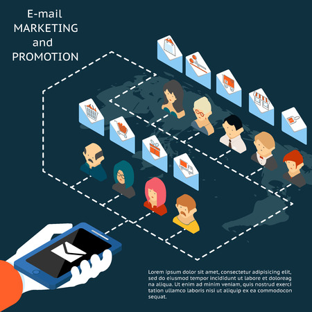 email: Email marketing and promotion app Illustration