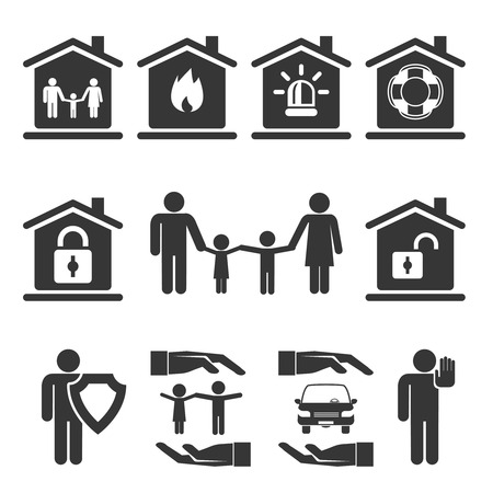house fire: Family  Home and Auto Insurance Icon Designs Illustration