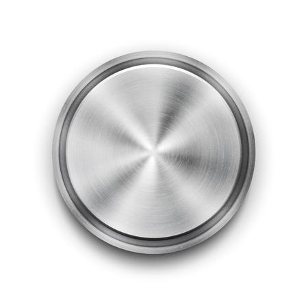circulos concentricos: Botón de metal Vector de plata texturizada Vectores