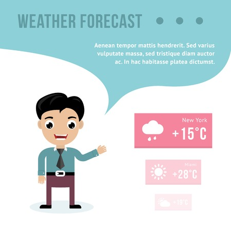 meteorological: Weatherman giving a weather forecast