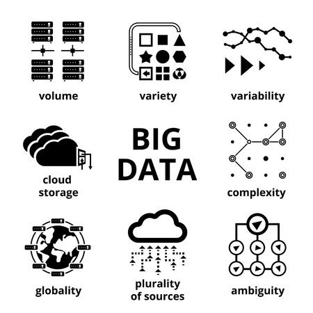 analyze data: Big data icons