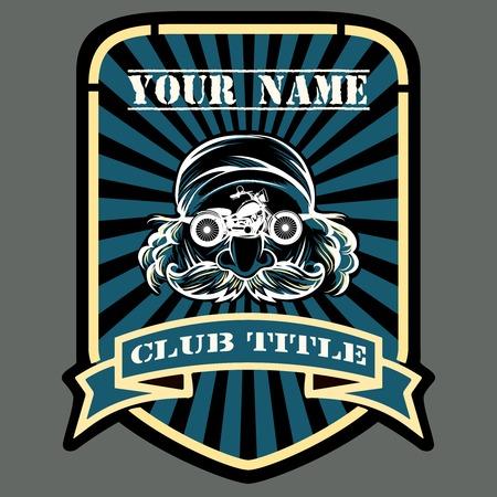 motor racing: Biker o motor racing club emblema Vectores