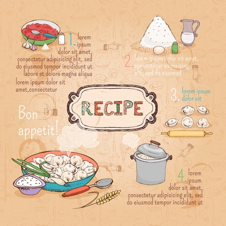 russian cuisine: food ingredients recipe Illustration