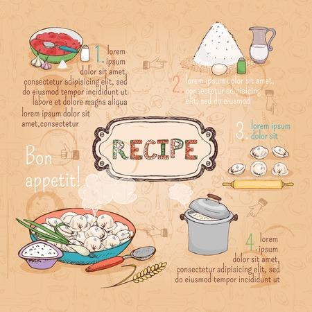 russian food: food ingredients recipe Illustration