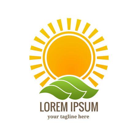 yellow  sun light: Sunset symbol or emblem