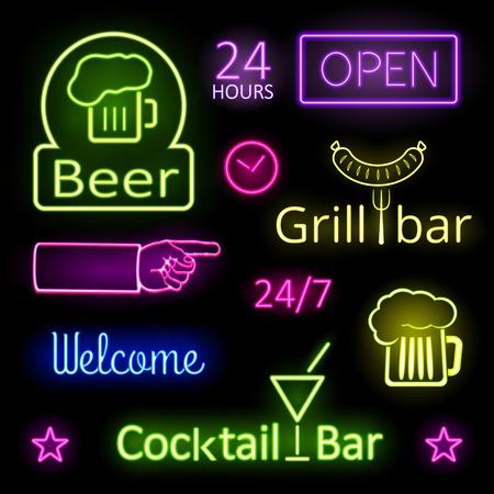 Glühender Neonleuchte-Bar Zeichen auf schwarzem Hintergrund Vektorgrafik