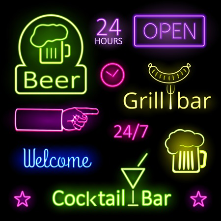 food industry: Glowing Neon Lights Bar Signs on Black Background