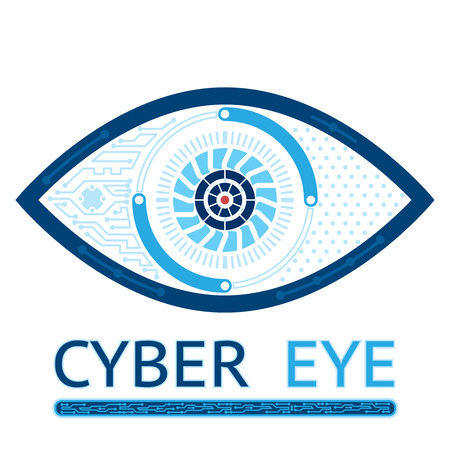 blue eye: Cyber eye icon Illustration