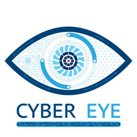 ojos azules: Icono del ojo cibernético