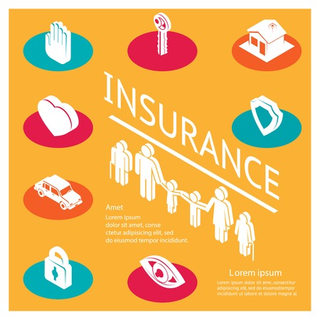 protect home: Family insurance concept Illustration