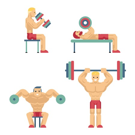 physically: Bodybuilding and Weightlifting Icons in Flat Style