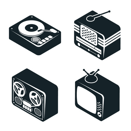long play: Isometric 3D Icons of Retro Media Devices
