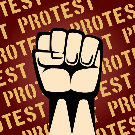 disapproval: Fist Up Protest Poster Illustration