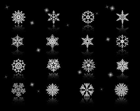Set of White Snowflakes Icons
