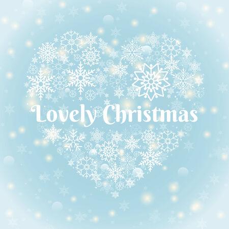 crystallization: Lovely Christmas Texts on Heart Shape Snowflakes Illustration