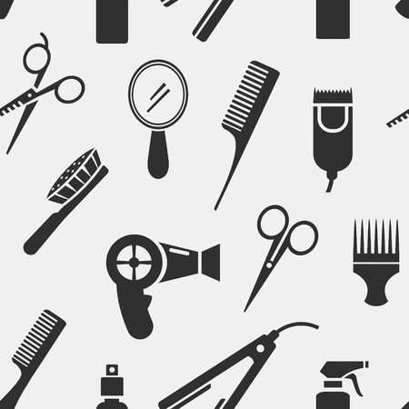 hair spray: Silhouette Hairdressing Tools in Seamless Pattern