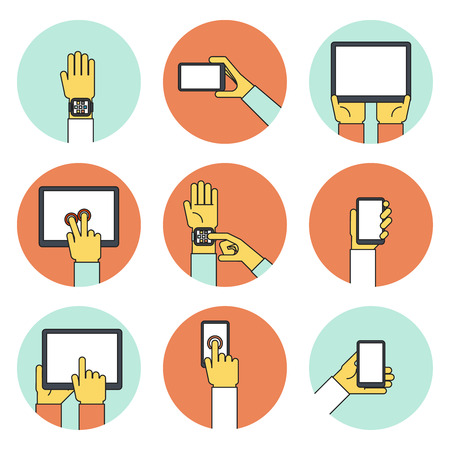 activating: Hands Holding Touch Screen Devices Icons