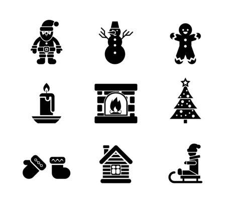 clipart chimney: Black Christmas Icons on White Background Illustration