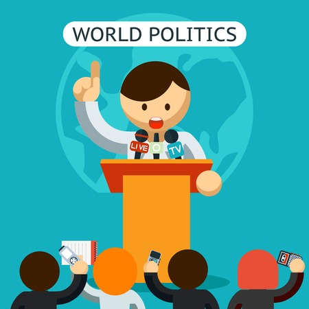 politics: Cartooned World of Politics Concept Illustration